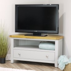 Oak City - Sydney Painted French Grey 102cm Corner TV Stand