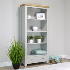 Oak City - Sydney Painted French Grey Large Bookcase