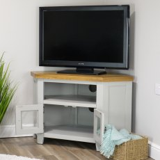 Oak City - Sydney Painted French Grey 105cm Glazed Corner TV Stand
