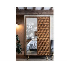 Geometric Mango Wood Double Wardrobe with Brass Gold Legs