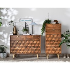 Geometric Mango Wood 5 Drawer Tall Chest of Drawers with Brass Gold Legs