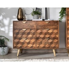 Geometric Mango Wood 6 Drawer Wide Chest of Drawer with Brass Gold Legs