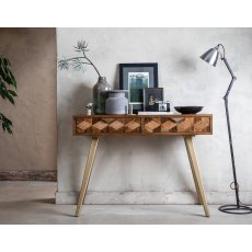 Geometric Mango Wood Dressing Table with Brass Gold Legs