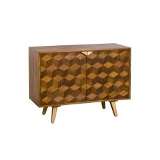 Boxer Mango Wood Narrow Sideboard with Brass Gold Legs