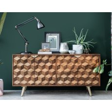 Geometric Mango Wood Wide Sideboard with Brass Gold Legs