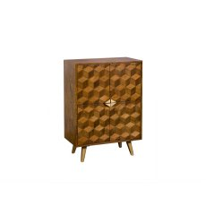 Boxer Mango Wood Highboard with Brass Gold Legs