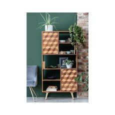 Boxer Mango Wood Bookcase with Brass Gold Legs