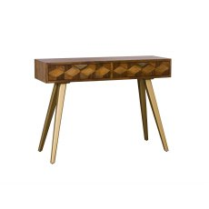 Boxer Mango Wood Console Table with Brass Gold Legs