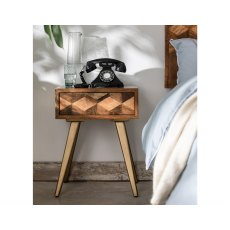 Boxer Mango Wood Lamp Table with Brass Gold Legs