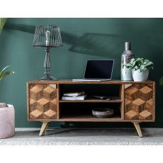 Boxer Mango Wood TV Unit with Brass Gold Legs