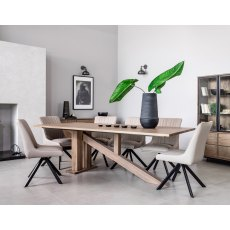 New York Solid Smoked Oak 200cm Dining Table Set