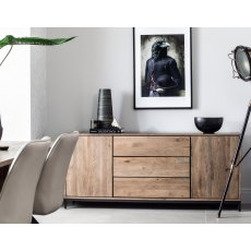 New York Solid Smoked Oak Wide Sideboard