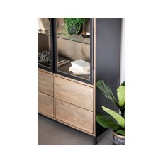 New York Solid Smoked Oak Display Cabinet