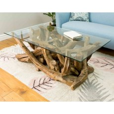Branchwood Teak Rectangular Coffee Table with Glass Top
