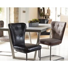 Oscar Grey & Brown Upholstered Dining Chair with Vintage Frame