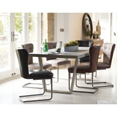 Petra Industrial 160cm Dining Table Set & x4 Oscar Dining Chairs