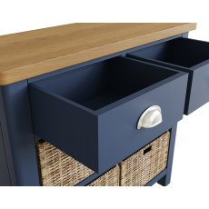Oak City - Dorset Painted Blue Oak 2 Drawer 4 Basket Unit