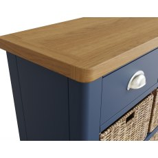 Oak City - Dorset Painted Blue Oak 3 Drawer 6 Basket Unit