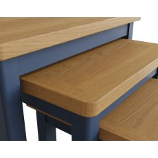 Oak City - Dorset Painted Blue Oak Nest of 3 Tables