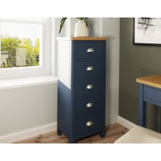 Oak City - Dorset Painted Blue Oak 5 Drawer Narrow Chest of Drawers