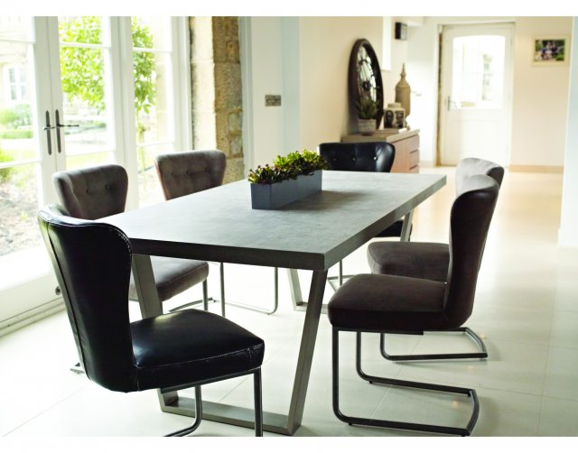Baker Furniture Petra Industrial 200cm Dining Table Set & x6 Oscar Dining Chairs