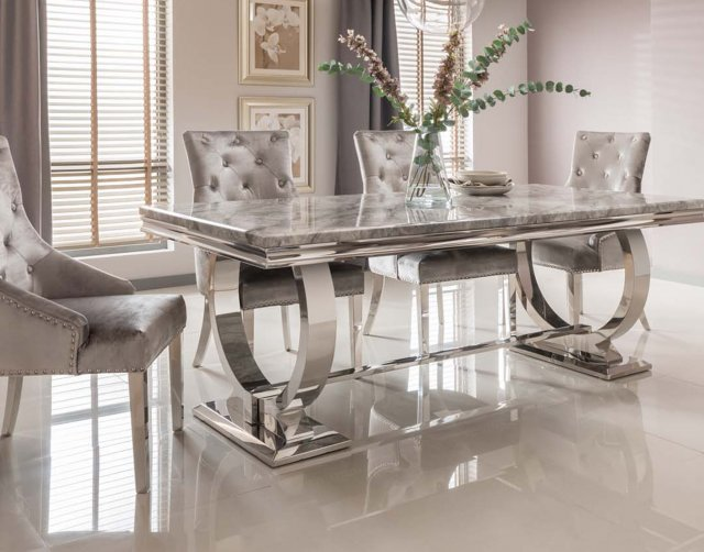Vida Living Arianna Grey Marble 180cm Dining Set - Table + 6 Belvedere Pewter Chairs