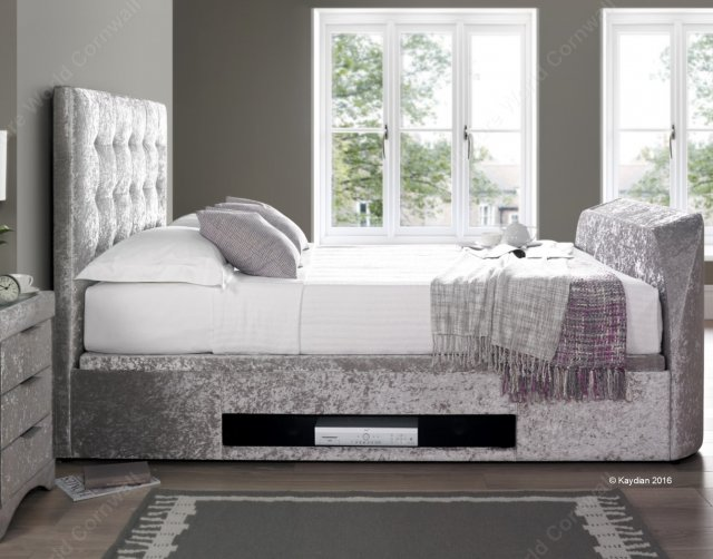Kaydian Bastille Ottoman TV Bed in Crushed Silver Fabric