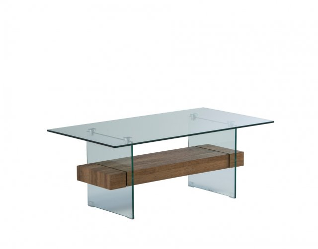 World Furniture Aria Glass Coffee Table in Brown Oak Finish