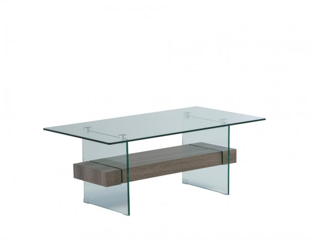 World Furniture Aria Glass Coffee Table in Grey Oak Finish
