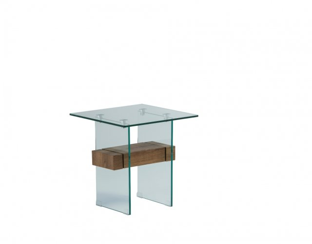 World Furniture Aria Glass End Table in Brown Oak Finish