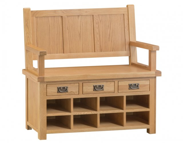 Kettle Interiors Light Rustic Oak Monks Bench