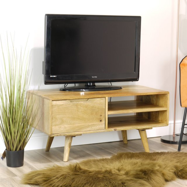 IFD Oak City - Aztec Solid Mango Wood Small TV Unit