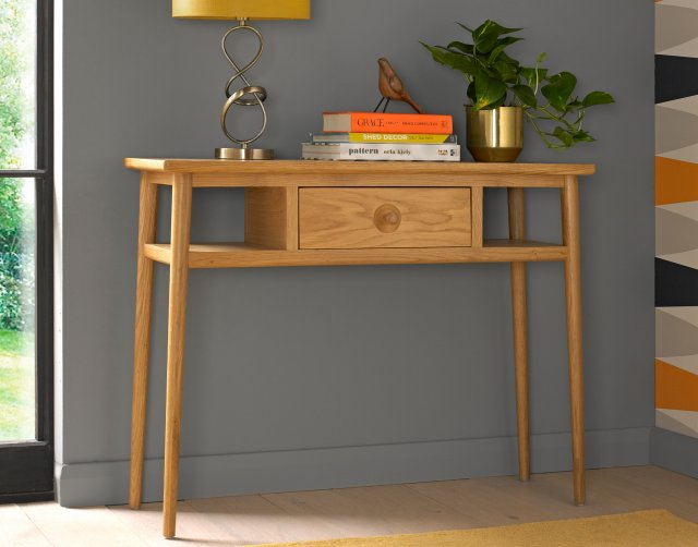 Henley Solid Oak Console Table Furniture World - Solid Oak Console Table With Storage