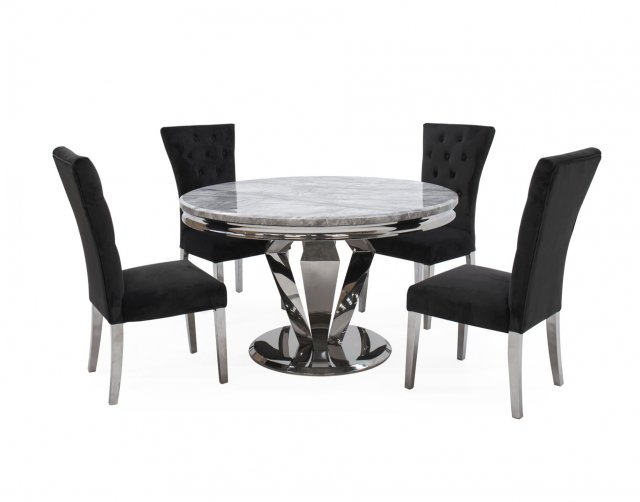 Vida Living Arturo Compact Round Dining Table Set with Grey Marble Top & 4 Pembroke Charcoal Dining Chairs