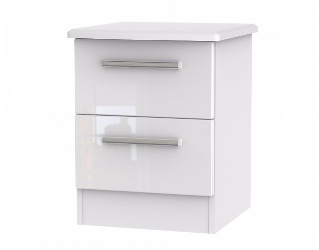 Welcome Furniture Belgravia High Gloss 2 Drawer Bedside Table