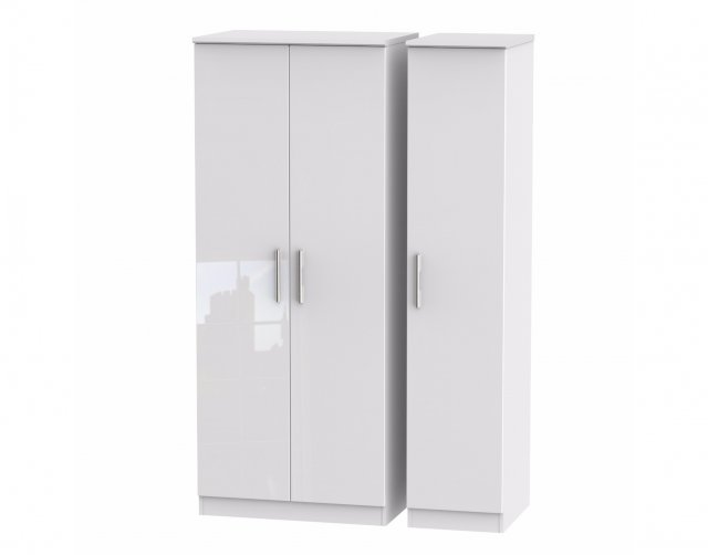 Welcome Furniture Belgravia High Gloss Triple Plain Wardrobe