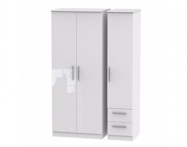 Welcome Furniture Belgravia High Gloss Triple Plain + Drawer Wardrobe