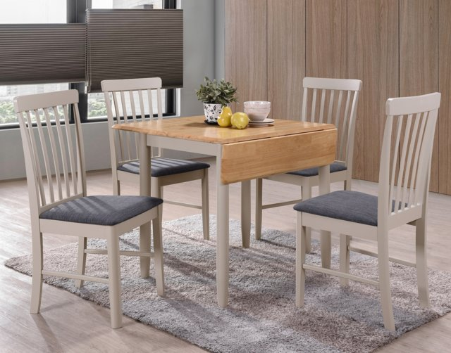 Annaghmore Furniture Alaska Painted Compact Square Drop Leaf Dining Table Set & 2 Chairs