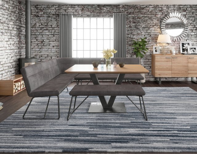 Larson Earth Industrial Corner Bench And Low Bench Dining Table Set Furniture World