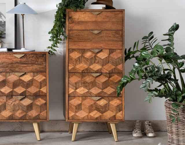 Baker Furniture Geometric Mango Wood 5 Drawer Tall Chest of Drawers with Brass Gold Legs