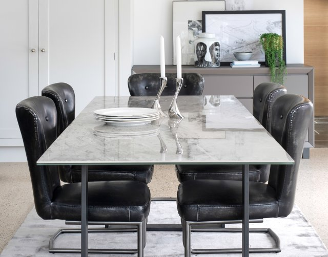 Panama Marble Effect Extending Dining Table Set Furniture World