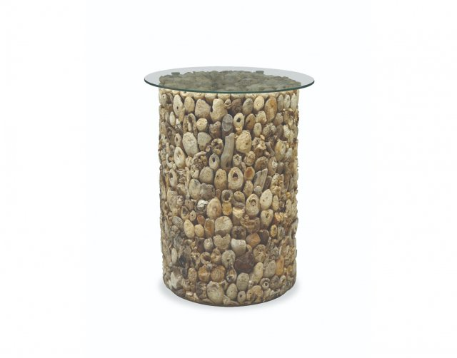 Bluebone Driftwood Tall Lamp Table with Glass Top